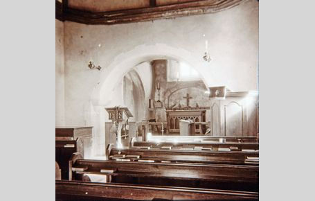 Friston Church interior from a glass slide - Kevin Gordon
